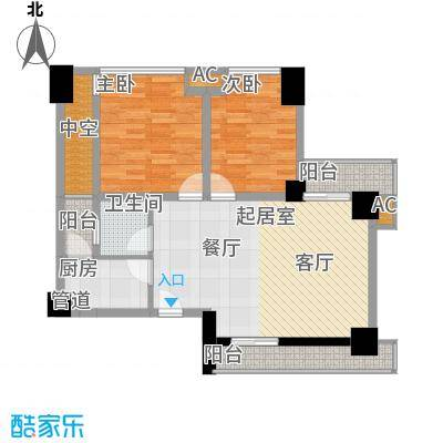 熙城国际95.00㎡C6型户型2室2厅1卫1厨