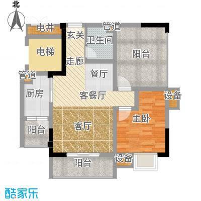 恺信时代天城73.50㎡一期标准层d3户型2室1厅1卫1厨