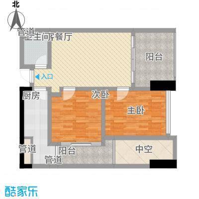 江宇天府城一期SOHO产品D户型2室1厅1卫1厨