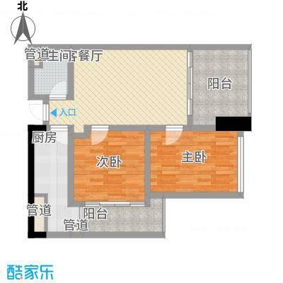 江宇天府城SOHO--F户型2室2厅1卫1厨