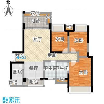 两江国际115.00㎡住宅E户型3室2厅2卫1厨