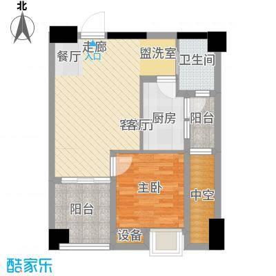 中航国际交流中心57.57㎡4号楼B2户型一室一厅一卫一厨户型1室1厅1卫1厨