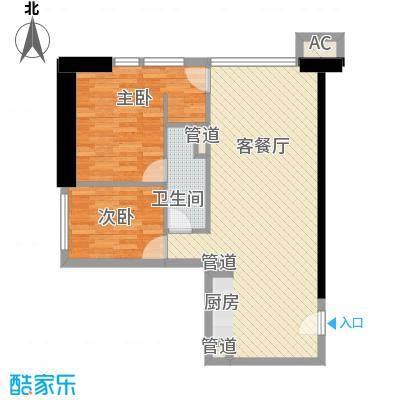 东方希望天祥广场天荟94.21㎡1期c1户型2室2厅1卫1厨