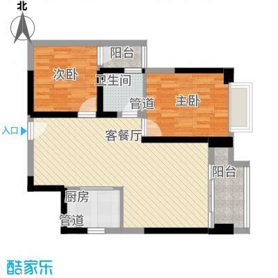 东方希望天祥广场天荟78.02㎡一期B1-3-2户型2室2厅1卫1厨