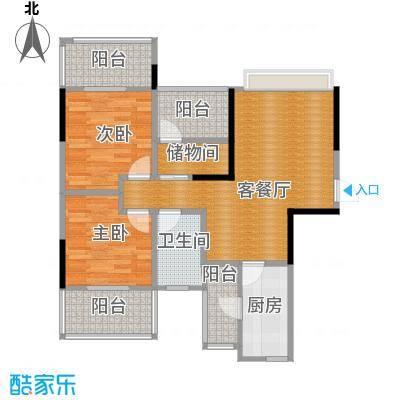 保利香雪89.00㎡1号楼1单元03/04奇数层户型2室1厅1卫1厨
