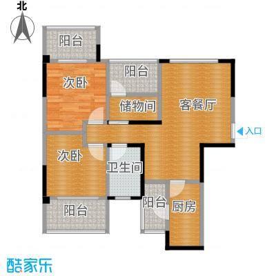 保利香雪86.00㎡1号楼2单元01/02奇数层户型2室1厅1卫1厨