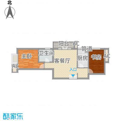 上京新航线80.00㎡3E户型2室2厅1卫1厨