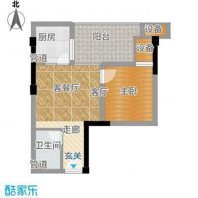 恺信时代天城50.50㎡一期标准层E1'户型1室1厅1卫1厨