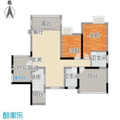 保利星座110.00㎡一期标准层A1户型2室2厅2卫1厨