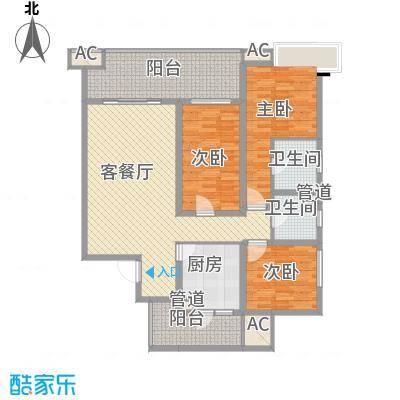 龙湖世纪峰景128.00㎡一期10号楼标准层d户型3室2厅2卫1厨