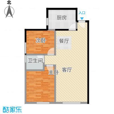 北纬40度65.60㎡F5(G5)户型2室1厅1卫1厨