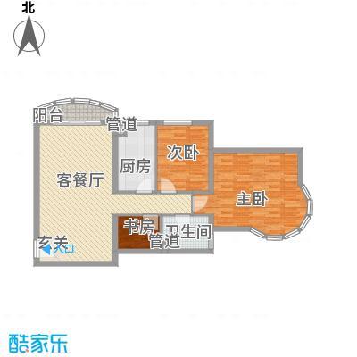 珠江绿洲108.47㎡四期7#N1已售完户型2室2厅1卫1厨