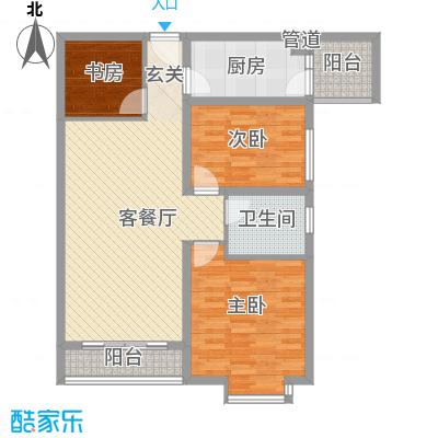 珠江绿洲106.52㎡四期6#C(已售完)户型3室2厅1卫1厨