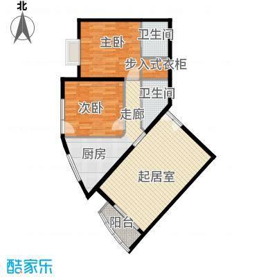 世纪东方城103.00㎡一区3号楼K户型2室2卫1厨