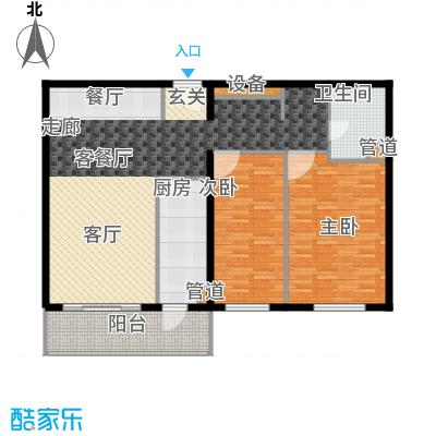 傲城尊邸116.63㎡二室二厅一卫户型2室2厅1卫1厨