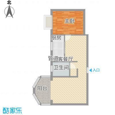 新街坊佳兴园74.84㎡1#C户型1室2厅1卫1厨