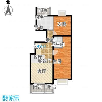 傲城尊邸122.19㎡三期傲城B1户型2室2厅2卫1厨