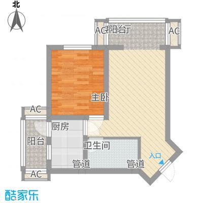 上东上品65.35㎡2#角楼七单元B户型1室2厅1卫1厨