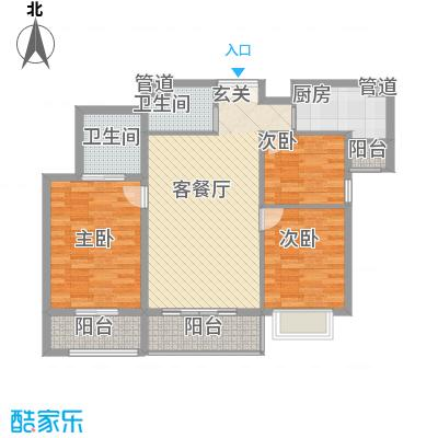 富力城B区B1-02户型3室2厅2卫1厨