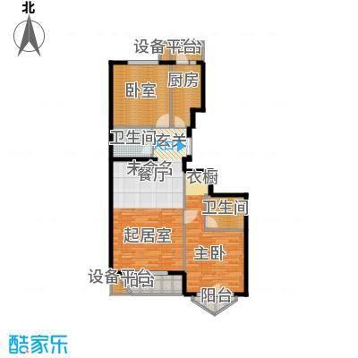 世纪东方城105.13㎡7号楼D(2居)户型1室2卫1厨