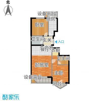 世纪东方城105.01㎡7号楼D(2居)户型1室2卫1厨