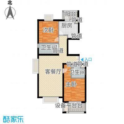 傲城天月园128平米南北向2居室边户型2室1厅1卫1厨