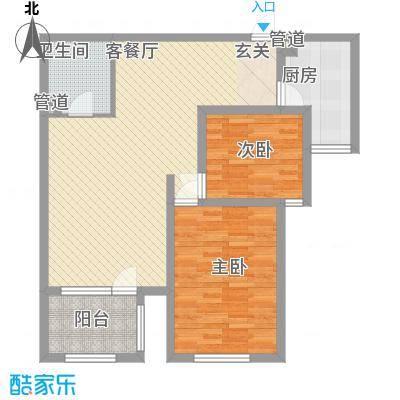 日月东华风格雅园户型2室1厅1卫1厨