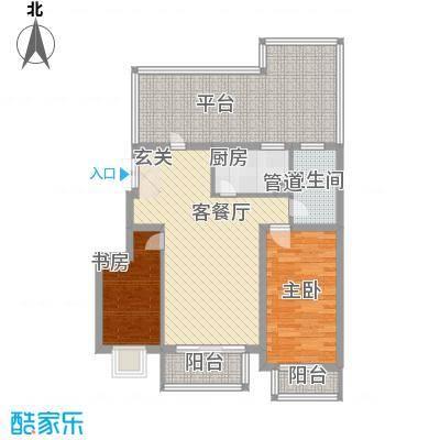 白领家园105.60㎡L户型2室2厅1卫1厨