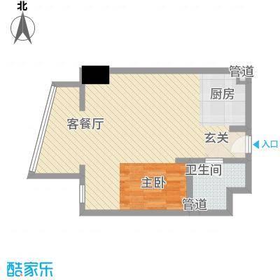 新华联丽港68.70㎡2号楼D户型1室2厅1卫1厨