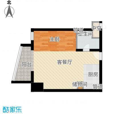 新华联丽港69.32㎡2号楼C户型1室2厅1卫1厨