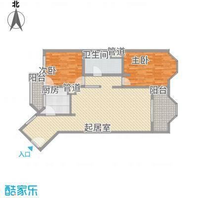 阳光广场二居室户型2室1厅1卫1厨