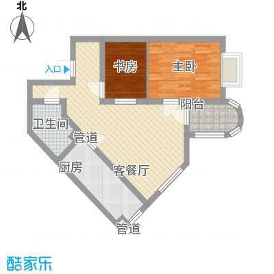 新街坊佳兴园77.64㎡2#F户型2室2厅1卫1厨