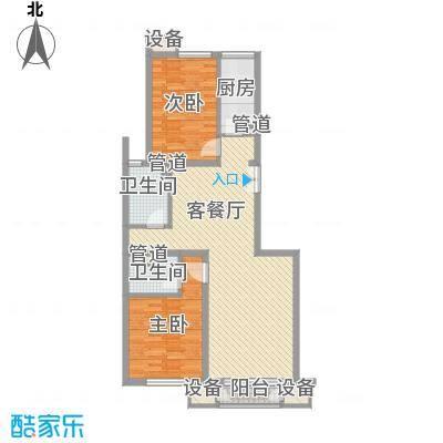金隅凤麟洲108.00㎡3#2B反户型2室2厅2卫1厨