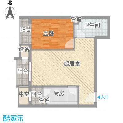 金隅凤麟洲70.00㎡1#D1反户型1室2厅1卫1厨
