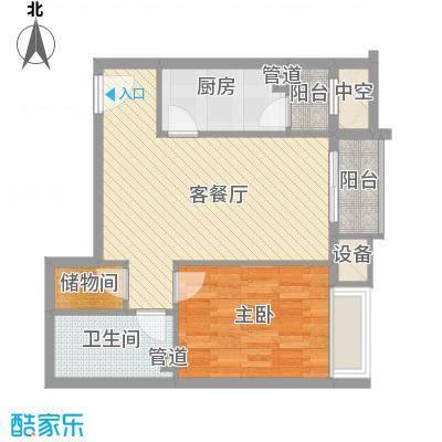 金隅凤麟洲71.50㎡1#E户型1室2厅1卫1厨