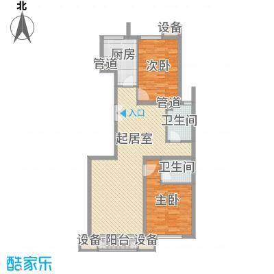 金隅凤麟洲108.00㎡3#2C反户型2室2厅2卫1厨