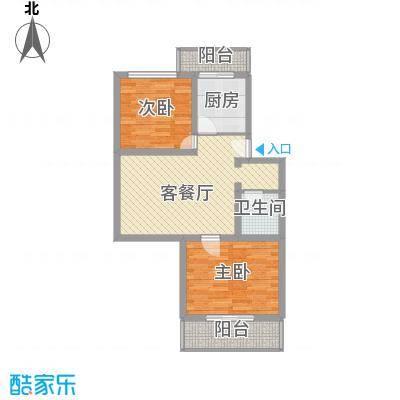 鑫兆丽园亚北新区85.35㎡户型B4户型2室1厅1卫1厨