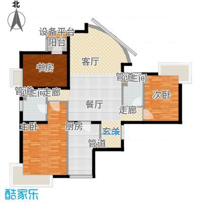 新华联丽景138.82㎡H户型3室2厅2卫1厨