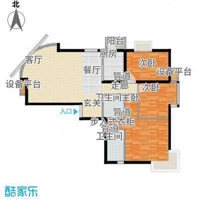 新华联丽景140.10㎡5、6号楼J户型3室2厅2卫1厨