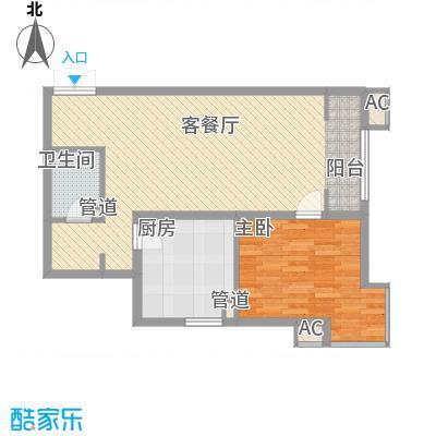 上东上品86.01㎡6#楼G户型1室2厅1卫1厨