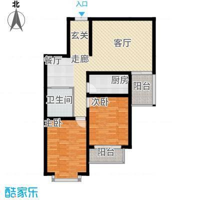 中水金海嘉苑114.71㎡D户型2室2厅1卫1厨