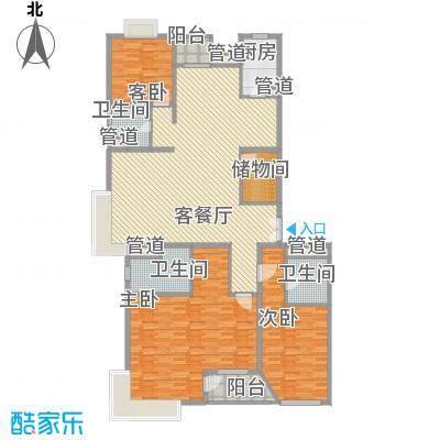 fesco国际公寓户型2室2厅2卫1厨