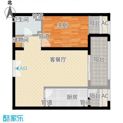 汇欣公寓户型1室1厅1卫1厨