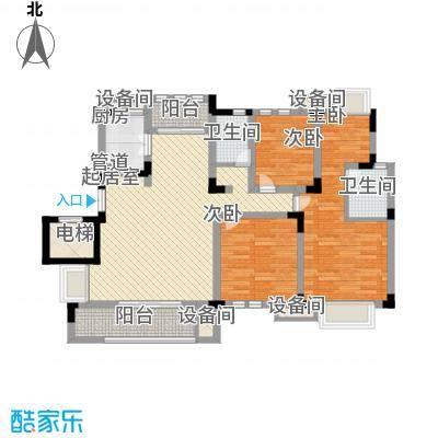 紫金上河苑125.89㎡一期1、2幢标准层D户型4室2厅2卫1厨