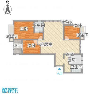 紫金上河苑123.00㎡一期3幢标准层B2户型3室3厅2卫1厨