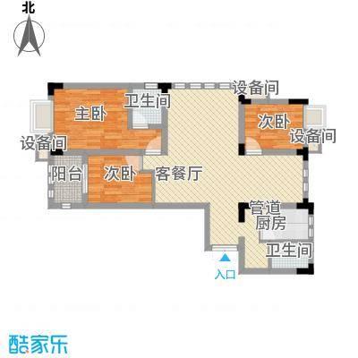 紫金上河苑108.21㎡一期3幢标准层B2户型2室2厅1卫1厨