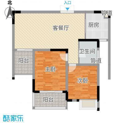 江雁依山郡93.00㎡二期16-19号楼标准层C3户型2室2厅1卫1厨