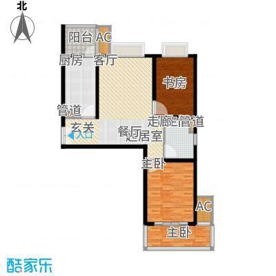 世茂外滩新城107.60㎡二期17号楼标准层A户型2室2厅1卫1厨