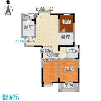 边城世家116.00㎡一期标准层D户型3室2厅1卫1厨