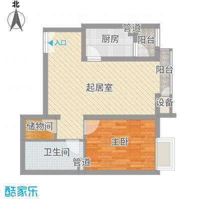 金隅凤麟洲69.00㎡2#1D'反户型1室2厅1卫1厨